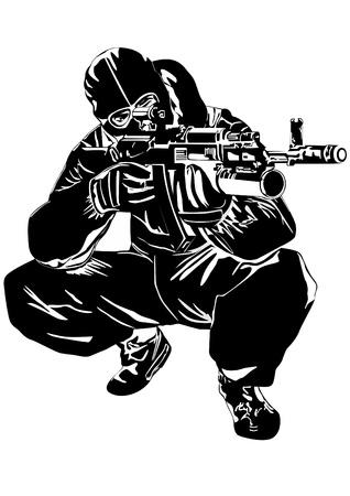 snajper: Ilustracja na sprawach wojskowych. Człowiek w mundurze gotowy do strzału z broni automatycznej Ilustracja