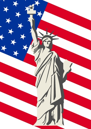 Statue of Liberty in the background the Stars and Stripes USA Vector