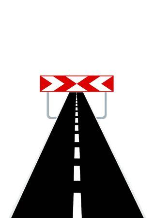 end line: La carretera se extiende en la distancia y la se�al de advertencia que significa el final del camino Vectores