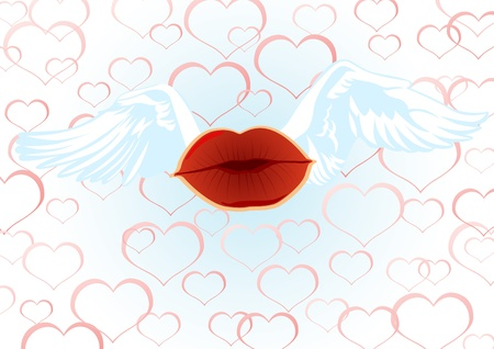 wingspan: Abstract image of an air kiss with wings of white swans on a background of hearts