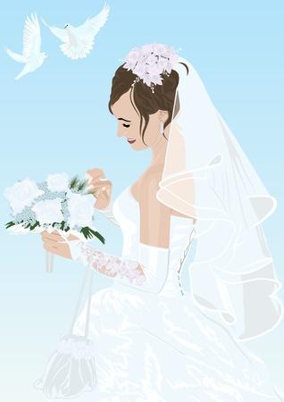Die Braut in ihrem Hochzeitskleid mit einem Blumenstrauß und zwei weiße Tauben fliegen
