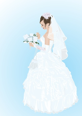 The bride in her wedding dress with a bouquet of flowers Vector