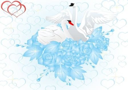 Two white swans in a bouquet of roses on a background of hearts. Vector