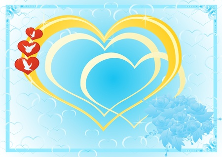 Red hearts with doves on a path of heart and a bridal bouquet of flowers on a background of hearts. Vector