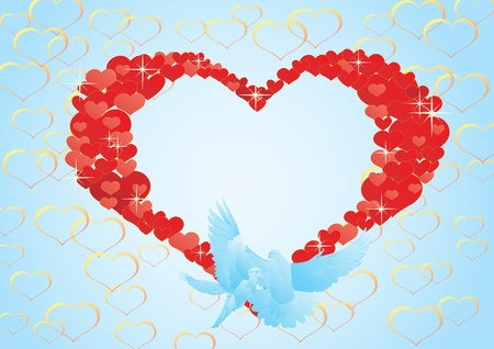 Two flying dove on a background of abstract hearts. Vector