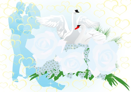 The bride and groom in a wedding dress. Two white swans in a bouquet of roses. Vector