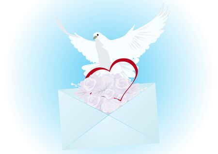 Flying white dove, an envelope with a letter and flowers and heart. The illustration on blue background. Vector