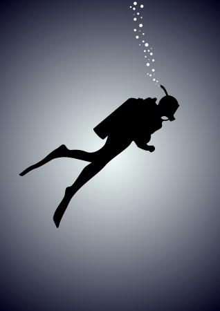 Diver in gear to dive into the water against the background of the light spot Illustration