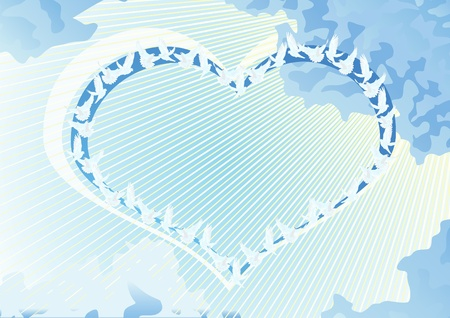 A flock of white doves into the sky. A flock of doves flying form an abstract image of the heart. Stock Vector - 10213412