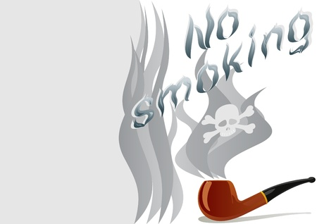 Tube for tobacco smoking and an inscription calling for no smoking and to quit this unhealthy habit. The illustration on white background. Stock Vector - 10213400