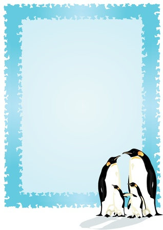 Family of penguins. Two adults and two chicks penguin on the background of a blue frame. Stock Vector - 10282609