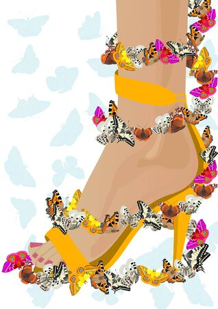 legs heels: Abstract female shoes with butterflies. The illustration on white background. Illustration