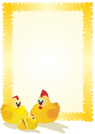 hatched: A broken shell eggs and hatched chick. Chicken sitting next to a rooster and a hen. The illustration on white background.