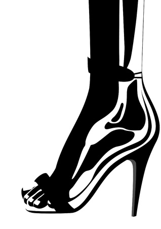 women's shoes: Womens high heels Illustration