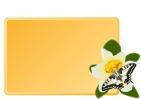 Butterfly sitting on a flower beside a business card with a yellow background. The illustration on white background. Stock Vector - 10348667