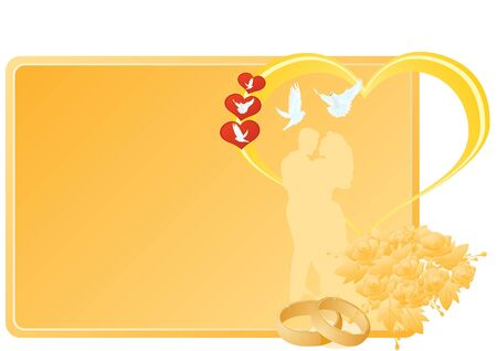 Two gold wedding rings and flowers near a business card with a picture of the newlyweds, the heart and flying white doves. The illustration on white background. Vector