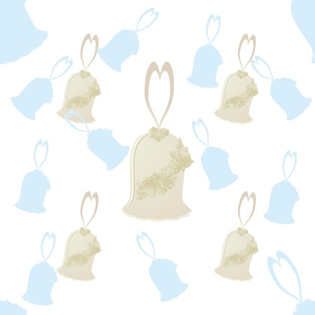 wedding bells: Seamless background with a decorative wedding bells on a white background.