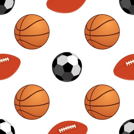 Seamless background with the image of sports balls for basketball and football. The illustration on white background. Stock Vector - 10348668