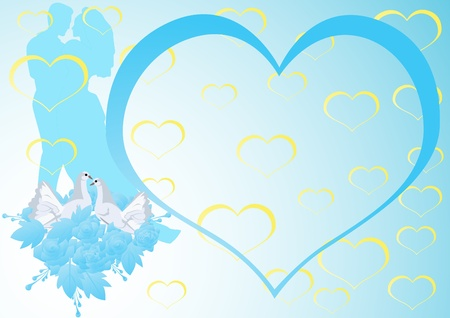 The groom, the bride and two white doves. Abstract heart on a blue background. Vector
