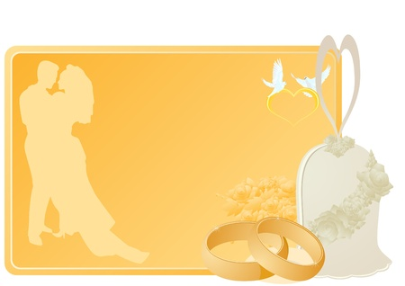 Two gold wedding rings, flowers and a bell near a business card with a picture of the newlyweds, the heart and flying white doves. The illustration on white background. Vector