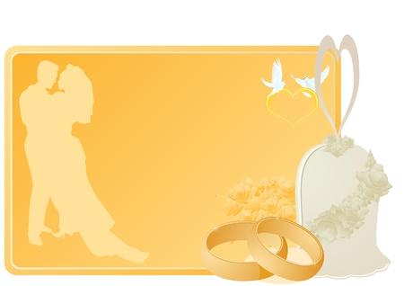 Dos anillos de boda de oro, flores y una campana cerca de una tarjeta de presentación con una foto de los novios, el corazón y volantes palomas blancas. La ilustración sobre fondo blanco.