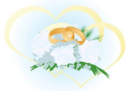 Two gold wedding rings lying in a bouquet of flowers. The illustration on white background Stock Vector - 10348672