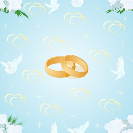 Seamless background with an image of wedding rings, white doves and a bouquet of flowers on a blue background. Vector