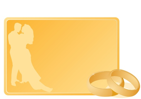Two gold wedding rings next to a business card with a yellow background. The illustration on white background. Vector