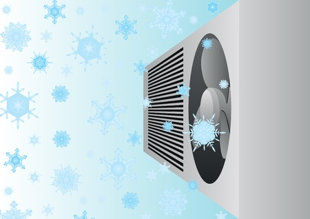 Modern electric appliance for air cooling. Conditioner on the background of falling snowflakes. Stock Vector - 10370005