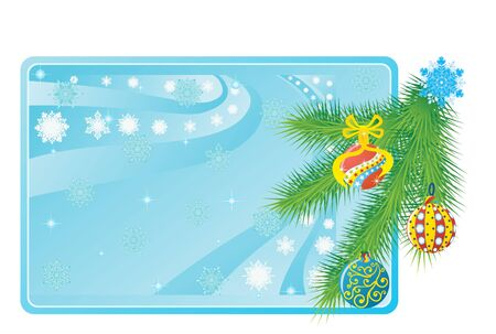 Pine branch and Christmas toys in the background of a business card with snowflakes Stock Vector - 10370011