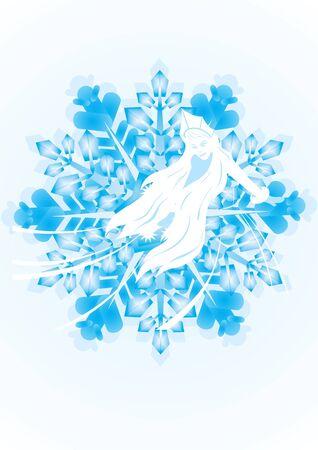 White contour Maiden on the snowflake. The illustration on white background Stock Vector - 10370002