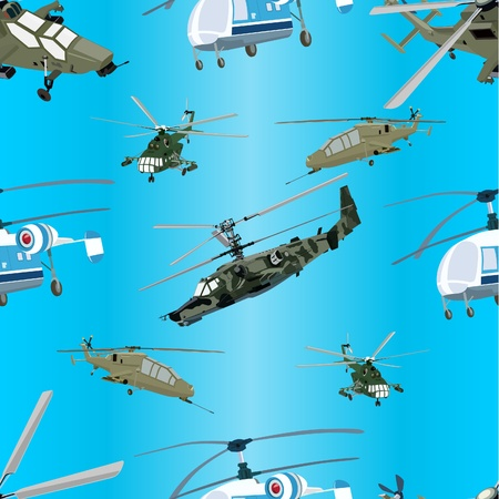 Seamless blue background of military helicopters Stock Vector - 10475650