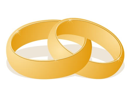 Two gold wedding rings. The illustration on white background Vector