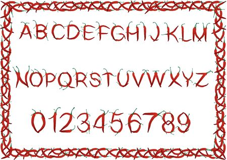 Alphabet and numbers from fiery red chili peppers