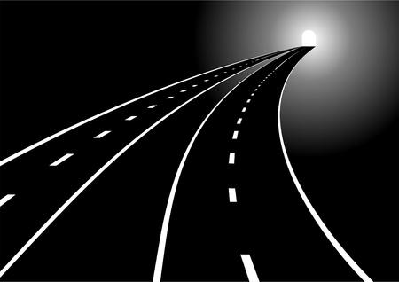 scheidingslijnen: Tunnel en twee belangrijkste wegen met een verdelen strip. Weg die zich uitstrekt in de afstand.