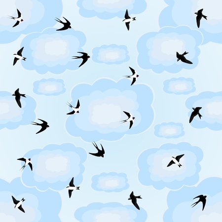 Seamless blue background of flying swallows in the sky