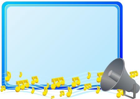 Speaker to enhance the strength and the musical notes on a blue background Vector
