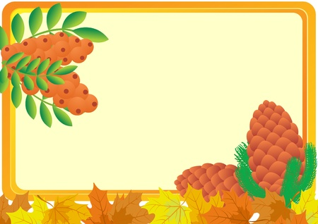 A business card with a yellow background, with bush fruits of mountain ash, pine cones and autumn maple leaves Vector