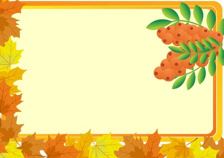 fallen fruit: A business card with a yellow background, with bush fruits of mountain ash and autumn maple leaves