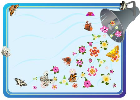 flower power: Speaker to enhance the signal, wild flowers and butterflies on a blue background. Illustration