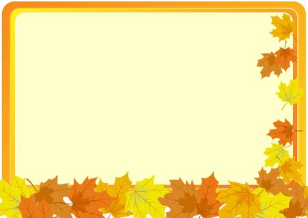 A business card with a yellow background and autumn maple leaves Stock Vector - 10564259