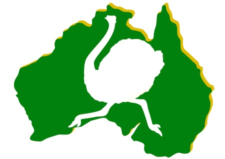 Map of Australia with the contour of the running ostrich. The illustration on white background. Stock Vector - 10693118