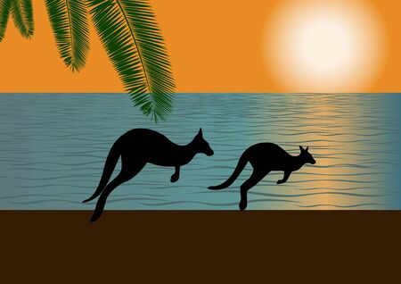 Against the backdrop of the ocean and setting sun on the bank of two galloping kangaroos Vector
