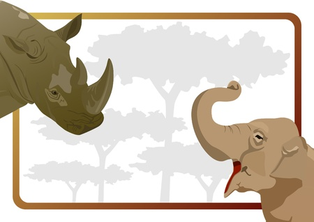 Body Part elephant and rhinoceros in the background of trees. The illustration on white background Stock Vector - 10718038