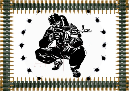 Sniper with automatic weapons against the bullet holes and machine-gun belts. Vector