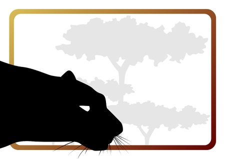 animal body part: Part of the body of a predatory animal on the background of trees. The illustration on a white background.