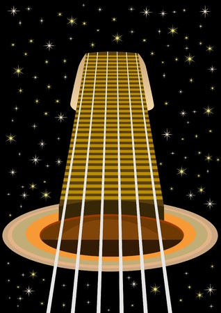Musical instrument. An abstract image of the guitar and the night sky Vector