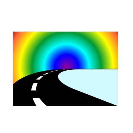 Image bend in the road receding into the distance and the rainbow on the horizon. Stock Vector - 10983594
