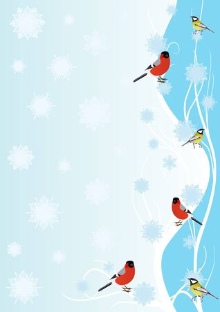 Winter birds on a branch against a background of falling snowflakes Stock Vector - 10983599