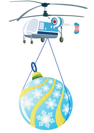 A helicopter with Christmas decorations. The illustration on a white background. Vector